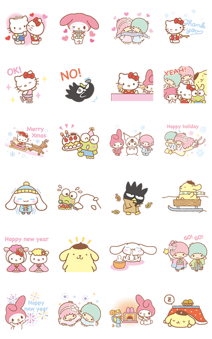 SANRIO: Happy Winter Line Sticker GIF & PNG Pack: Animated & Transparent No Background | WhatsApp Sticker