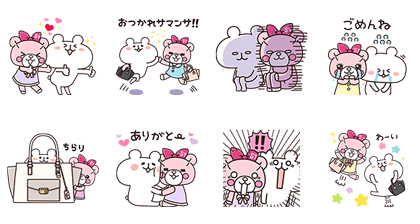 Samantha Aimee & yurukuma Line Sticker GIF & PNG Pack: Animated & Transparent No Background   WhatsApp Sticker