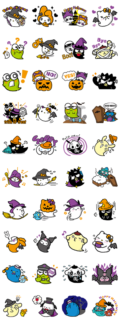 Sanrio Happy Ghost Town Line Sticker GIF & PNG Pack: Animated & Transparent No Background | WhatsApp Sticker
