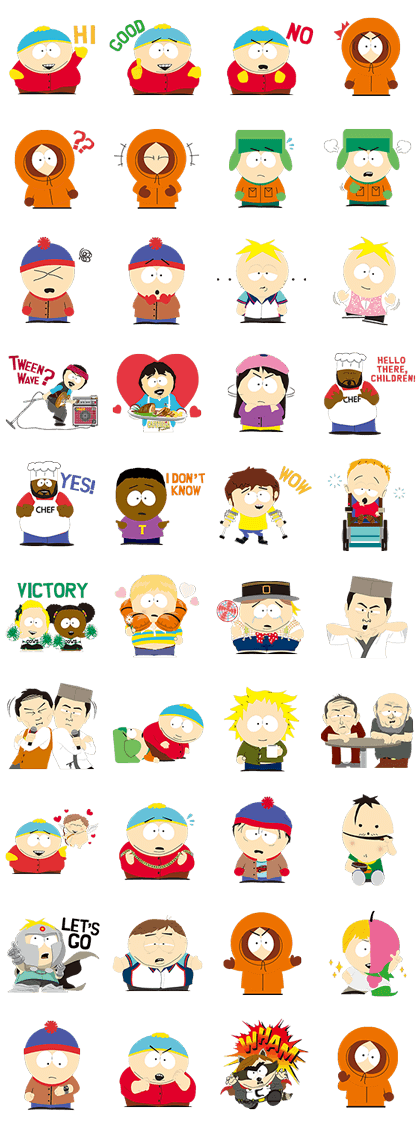 South Park Line Sticker GIF & PNG Pack: Animated & Transparent No Background | WhatsApp Sticker