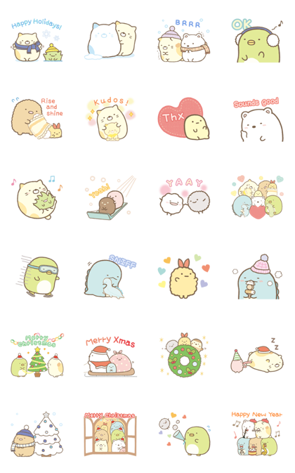 Sumikko Gurashi Winter Stickers Line Sticker GIF & PNG Pack: Animated & Transparent No Background | WhatsApp Sticker