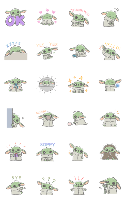 The Child (The Mandalorian) Line Sticker GIF & PNG Pack: Animated & Transparent No Background   WhatsApp Sticker