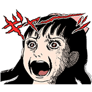 Umezz Screaming and Writhing! Sticker for LINE & WhatsApp | ZIP: GIF & PNG