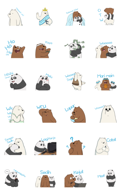 We Bare Bears Animated Stickers Line Sticker GIF & PNG Pack: Animated & Transparent No Background | WhatsApp Sticker