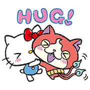 YO-KAI WATCH×Sanrio characters Sticker for LINE & WhatsApp | ZIP: GIF & PNG