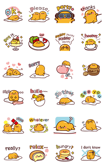 gudetama: Nice and Over Easy Line Sticker GIF & PNG Pack: Animated & Transparent No Background | WhatsApp Sticker