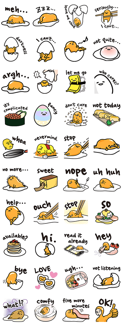 gudetama Line Sticker GIF & PNG Pack: Animated & Transparent No Background | WhatsApp Sticker