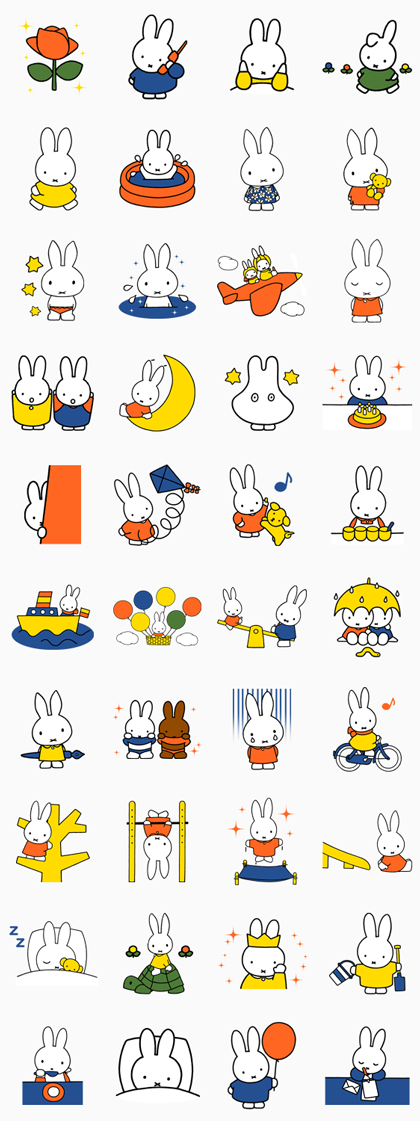 miffy Line Sticker GIF & PNG Pack: Animated & Transparent No Background | WhatsApp Sticker