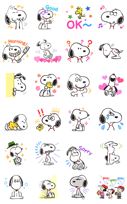 Animated SNOOPY★FUNNY FACES Line Sticker GIF & PNG Pack: Animated & Transparent No Background | WhatsApp Sticker