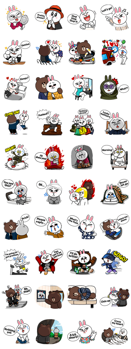 """Brown & Cony in """"My love from the Star"""" Line Sticker GIF & PNG Pack: Animated & Transparent No Background   WhatsApp Sticker"""