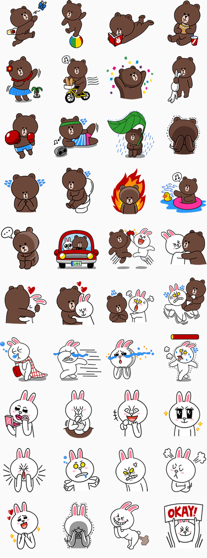 Brown & Cony Line Sticker GIF & PNG Pack: Animated & Transparent No Background | WhatsApp Sticker