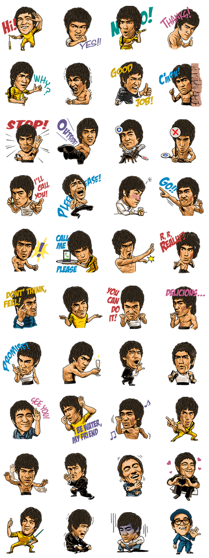Bruce Lee Line Sticker GIF & PNG Pack: Animated & Transparent No Background   WhatsApp Sticker