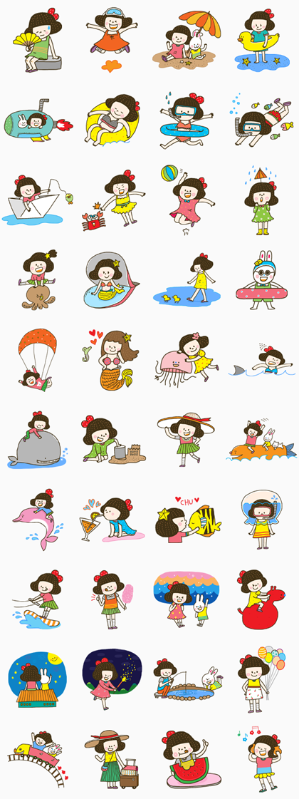 Cherry Coco: Summer Special Line Sticker GIF & PNG Pack: Animated & Transparent No Background | WhatsApp Sticker