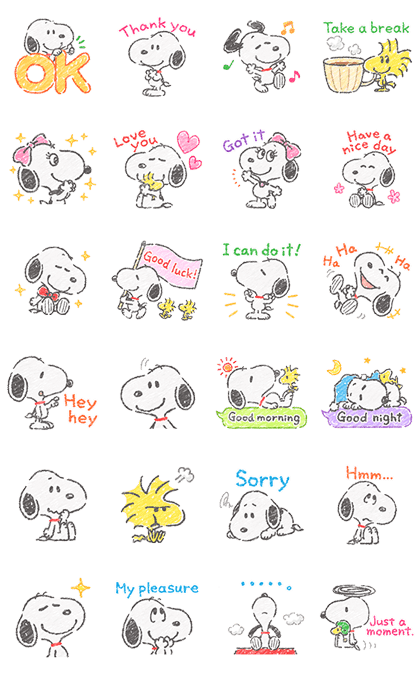 Cute Crayon Snoopy Stickers Line Sticker GIF & PNG Pack: Animated & Transparent No Background   WhatsApp Sticker