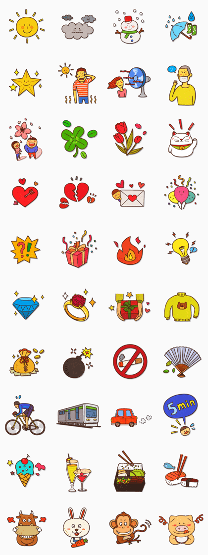 Daily Life Line Sticker GIF & PNG Pack: Animated & Transparent No Background | WhatsApp Sticker