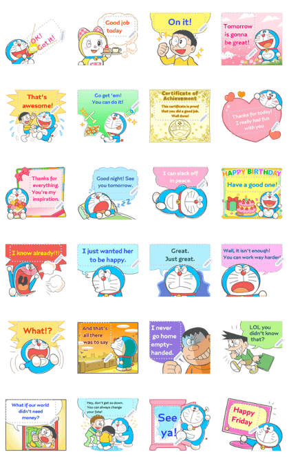 Doraemon Message Stickers Line Sticker GIF & PNG Pack: Animated & Transparent No Background | WhatsApp Sticker