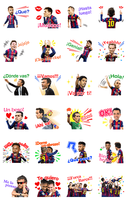 FC Barcelona – 3D Official Stickers Line Sticker GIF & PNG Pack: Animated & Transparent No Background | WhatsApp Sticker
