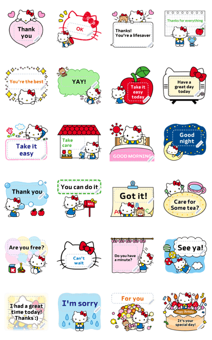 Hello Kitty Message Stickers Line Sticker GIF & PNG Pack: Animated & Transparent No Background | WhatsApp Sticker