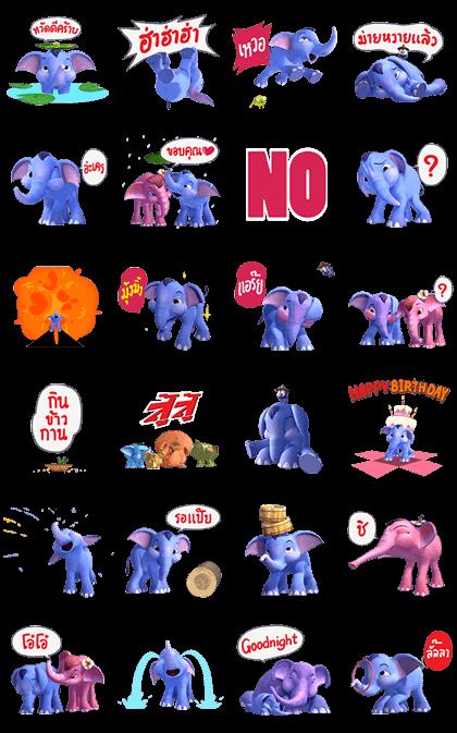 Hooray! Khan Kluay Line Sticker GIF & PNG Pack: Animated & Transparent No Background | WhatsApp Sticker