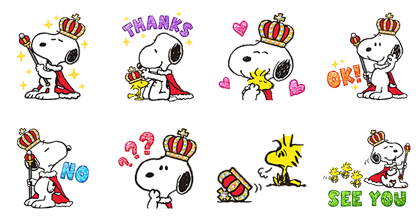 King Snoopy Stickers Line Sticker GIF & PNG Pack: Animated & Transparent No Background | WhatsApp Sticker