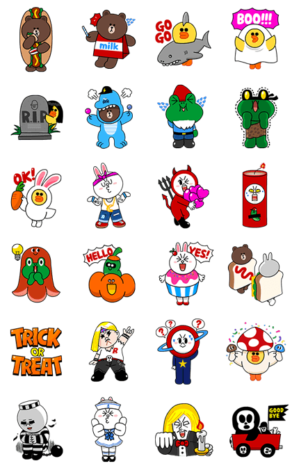 LINE Halloween Hootenanny Line Sticker GIF & PNG Pack: Animated & Transparent No Background | WhatsApp Sticker