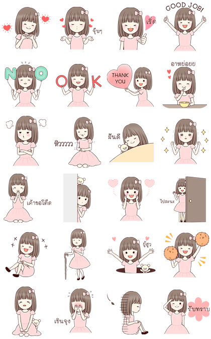 Little Girl Moves Line Sticker GIF & PNG Pack: Animated & Transparent No Background | WhatsApp Sticker