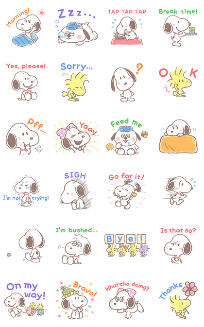 Lovely Snoopy Line Sticker GIF & PNG Pack: Animated & Transparent No Background | WhatsApp Sticker