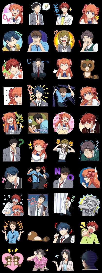 Monthly Girls' Nozaki-kun Line Sticker GIF & PNG Pack: Animated & Transparent No Background | WhatsApp Sticker