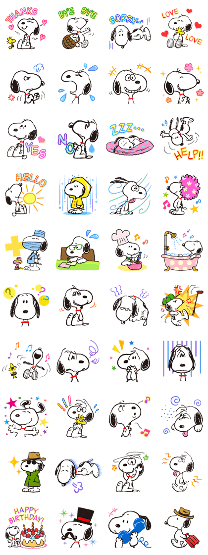 SNOOPY★FUNNY FACES Line Sticker GIF & PNG Pack: Animated & Transparent No Background | WhatsApp Sticker
