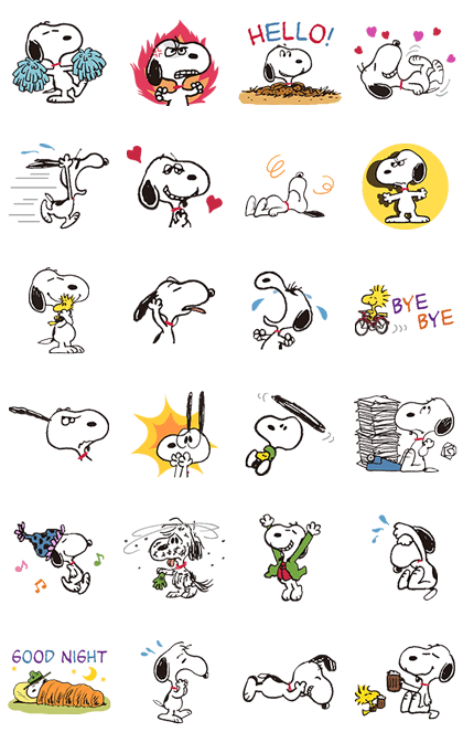 SNOOPY★Vintage Line Sticker GIF & PNG Pack: Animated & Transparent No Background | WhatsApp Sticker