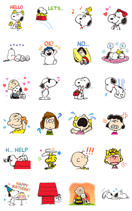 SNOOPY Animated Stickers Line Sticker GIF & PNG Pack: Animated & Transparent No Background | WhatsApp Sticker