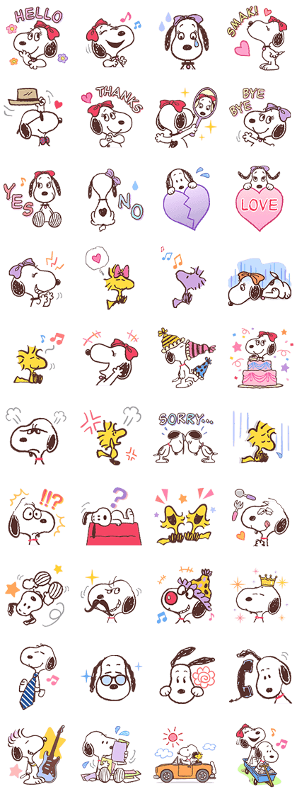 SNOOPY & BELLE Line Sticker GIF & PNG Pack: Animated & Transparent No Background | WhatsApp Sticker