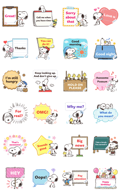 Snoopy Message Stickers Line Sticker GIF & PNG Pack: Animated & Transparent No Background | WhatsApp Sticker