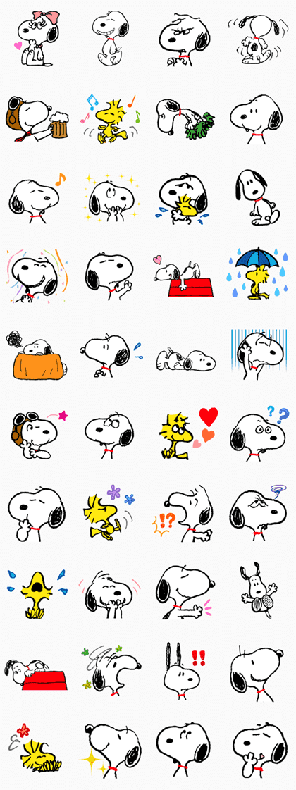 Snoopy Line Sticker GIF & PNG Pack: Animated & Transparent No Background | WhatsApp Sticker