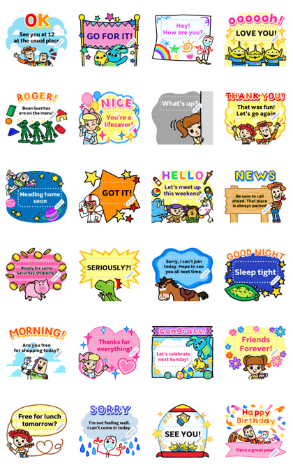 Toy Story 4 Message Stickers Line Sticker GIF & PNG Pack: Animated & Transparent No Background | WhatsApp Sticker