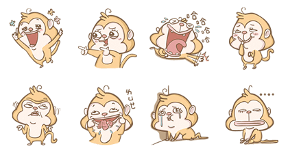 101 VIP: Happy Monkey Line Sticker GIF & PNG Pack: Animated & Transparent No Background | WhatsApp Sticker