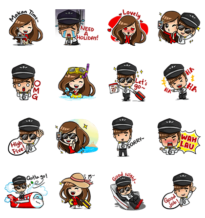 AirAsia Holiday Extravaganza (Malaysian ver.) Line Sticker GIF & PNG Pack: Animated & Transparent No Background | WhatsApp Sticker