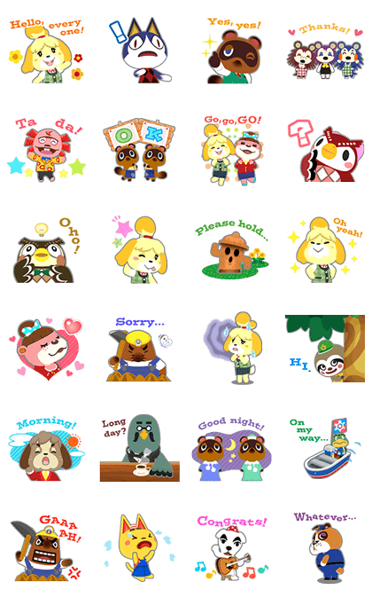 Animal Crossing Line Sticker GIF & PNG Pack: Animated & Transparent No Background | WhatsApp Sticker