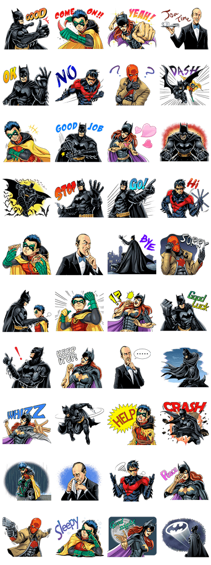 Batman Line Sticker GIF & PNG Pack: Animated & Transparent No Background | WhatsApp Sticker