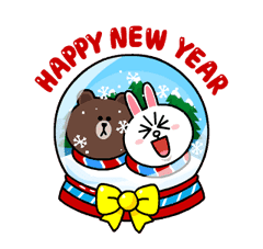 Brown & Cony's Snug Winter Date Sticker for LINE & WhatsApp | ZIP: GIF & PNG