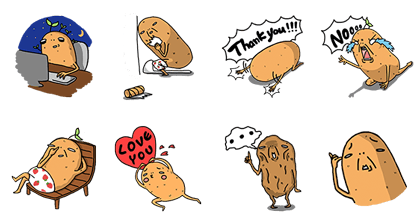 Buy123 - Potato Life Line Sticker GIF & PNG Pack: Animated & Transparent No Background | WhatsApp Sticker