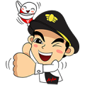 Captain AA & Nong Air Travel in Asia Sticker for LINE & WhatsApp | ZIP: GIF & PNG