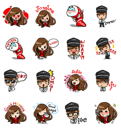 Captain AA & Nong Air: Welcome On Board Line Sticker GIF & PNG Pack: Animated & Transparent No Background | WhatsApp Sticker