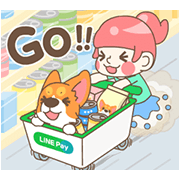 Corgi Pon Pon and LINE Pay Sticker for LINE & WhatsApp | ZIP: GIF & PNG
