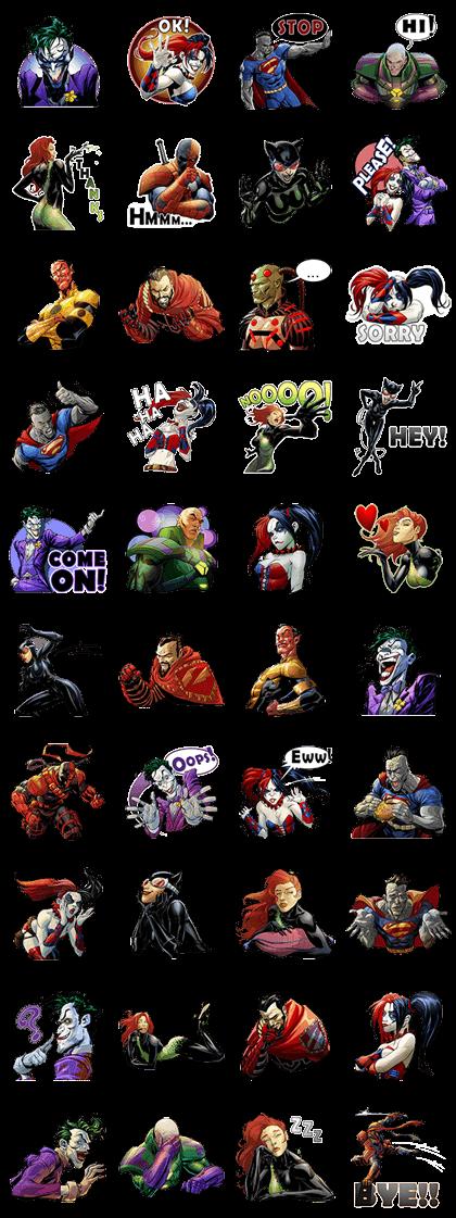 DC Comics Super-Villains Line Sticker GIF & PNG Pack: Animated & Transparent No Background | WhatsApp Sticker