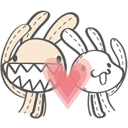 Foufou Bunny: All We Need Is Love Sticker for LINE & WhatsApp | ZIP: GIF & PNG