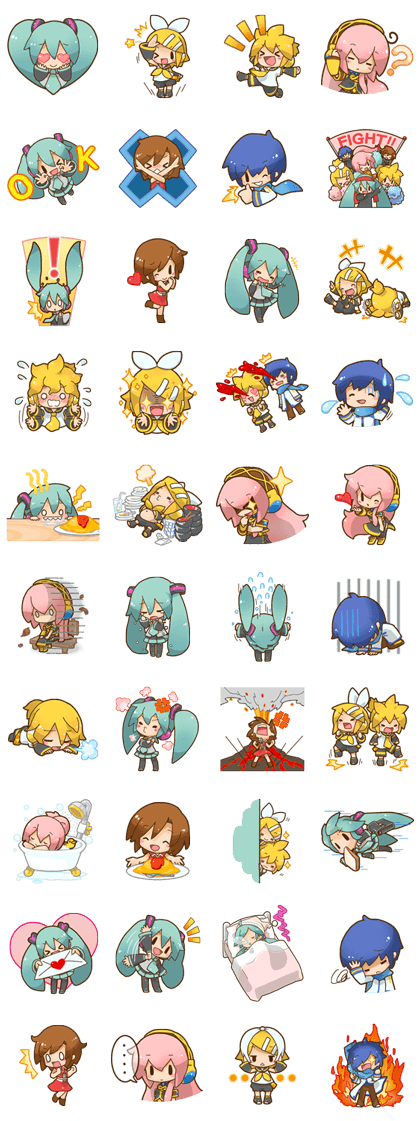 Hatsune Miku: All Together Line Sticker GIF & PNG Pack: Animated & Transparent No Background | WhatsApp Sticker