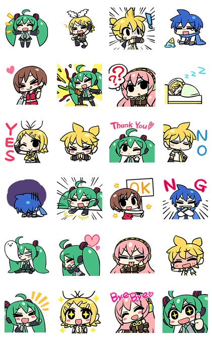 Hatsune Miku and the Piapro Family Line Sticker GIF & PNG Pack: Animated & Transparent No Background | WhatsApp Sticker