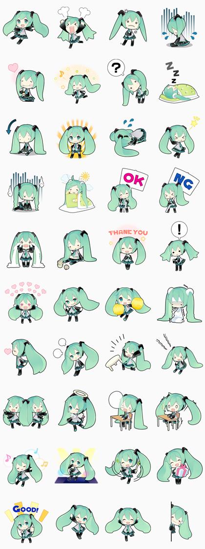 Hatsune Miku Line Sticker GIF & PNG Pack: Animated & Transparent No Background | WhatsApp Sticker