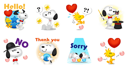 LINE BUBBLE 2 + SNOOPY Line Sticker GIF & PNG Pack: Animated & Transparent No Background | WhatsApp Sticker